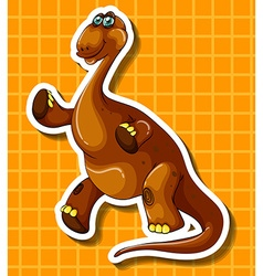 Brown dinosaur on yellow background vector