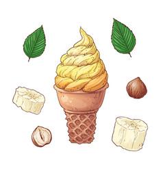 cartoon bananas and ice cream cones set vector image