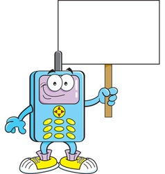 Cartoon cell phone holding a sign vector image