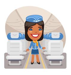Cartoon stewardess in cabin vector