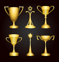championship winner trophy gold cup set vector image