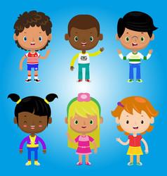 Children kids people black white family cartoon bo vector