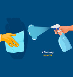 Cleaning service clean surface hands with spray vector