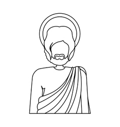 Contour half body figure human of saint joseph vector
