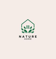 Eco home logo simple line logo template vector