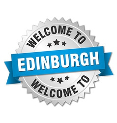 Edinburgh 3d silver badge with blue ribbon vector