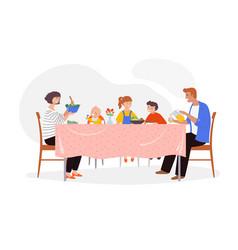 Festive dinner family scene children parents vector