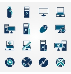 Flat computer repair icons set vector image