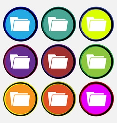 Folder icon sign Nine multi colored round buttons vector