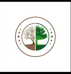 Forest conservation logo design silhoutte of vector