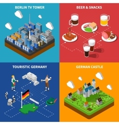 German Culture 4 Isometric Icons Square vector