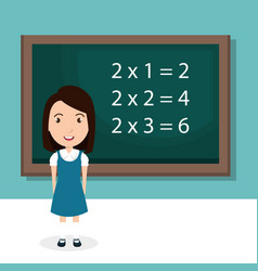 Girld with chalkboard classroom character vector