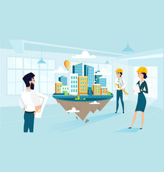 group architects create and engineering project vector image