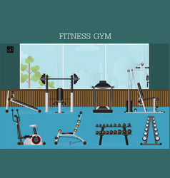 Gym interior with gym equipment vector