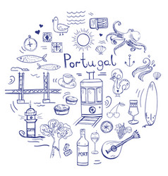 hand drawn portugal elements and symbols vector image