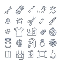 Handmade hobby activities flat thin line icons vector