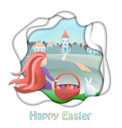 happy easter card with girl and countryside vector image