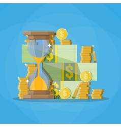 hourglass clocks with dollar coins stacks vector image