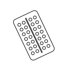 icon blister with pills contour drawing without vector image
