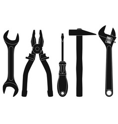 industrial tools kit - spanner pliers vector image