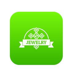 Jewelry cross icon green vector