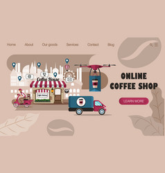 landing page design concept online coffee vector image