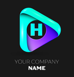 Letter h symbol in the colorful triangle vector