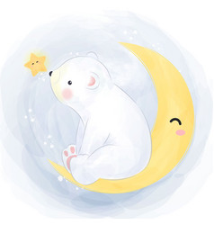 Little polar bear playing with moon and star vector