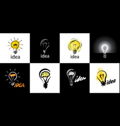 logo light bulb with concept ideas vector image