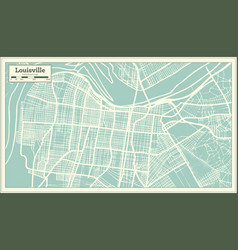 Louisville kentucky usa city map in retro style vector