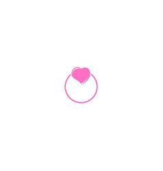 love heart ring valentine logo vector image