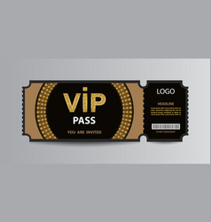 Luxury vip admission ticket stub vector