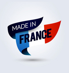 Made in france flag ribbon with french color vector