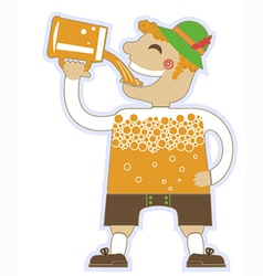 Man drinking a lot of beer oktoberfest isola vector