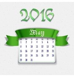May 2016 calendar template vector image