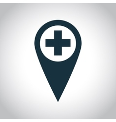 Medical map marker icon vector image
