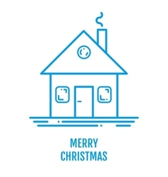 Merry Christmas concept with house and smoke in vector