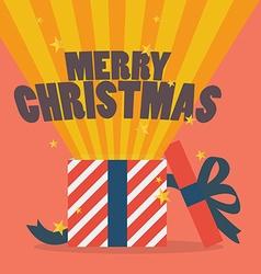 Merry christmas with a gift box vector image