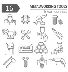Metal working tools icon set Thin line design vector