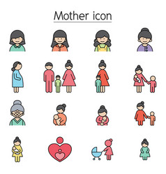mother icon set filled outline style vector image