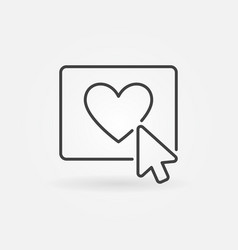 mouse click on heart button concept line vector image