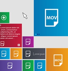 Mov file format icon sign buttons modern interface vector