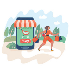 Online shopping and consumerism concept vector