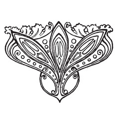 Ornate stamp is a small and rosette flowers vector