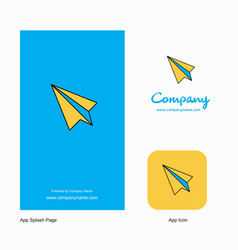 paper plane company logo app icon and splash page vector image