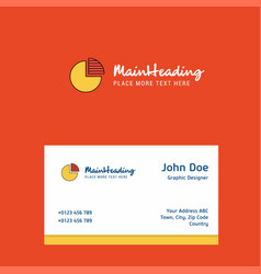 Pie chart logo design with business card template vector