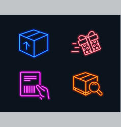 Present delivery parcel invoice and package icons vector