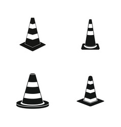 road cone icon set simple style vector image