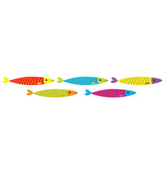 sardine colorful fish icon set line iwashi vector image