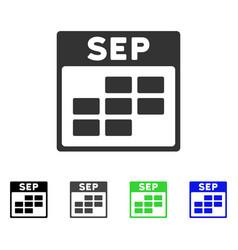 September calendar grid flat icon vector